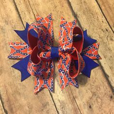 Confederate rebel flag hair bow hair clip baby girl toddler south southerner
