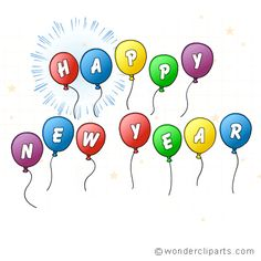 Happy New Year Balloons Greeting Card of New Year Wishes