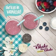 Get your shake on wi - http://www.beachbodycoach.com/sl47 http://www.beachbodycoach.com/sl47  Get your shake on with these yummy recipes. Thrilla In Vanilla Shake Shake Shake™: In a blender, add 1 cup of almond milk, 1 scoop of the shake powder, 1 tablespoon of Chia seeds, 1/4 cup of mixed berries, add ice and enjoy! Zumba Fitness  http://47fitness.info/get-your-shake-on-wi-3/