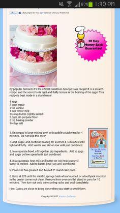 Official Cake Boss Sponge Recipe!!!
