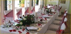 Bed and Breakfast Accommodation situated in the Franschoek Village and Valley, Franschoek Wedding and Functions Venue. Wedding Chair Decorations, Wedding Chairs, Bed And Breakfast, Table Settings, Furniture, Home Decor, The Mansion, Decoration Home, Room Decor