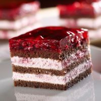 Jello Topping Chocolate Cake Filled With Raspberry Cream