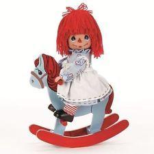 "Precious Moments 9""  Rocking Raggedy Ann Doll + Rocking Horse"