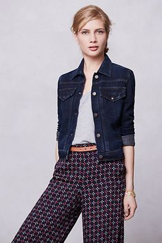 Citizens Of Humanity Borderline Jacket #anthropologie | denim jacket acts as a neutral with printed pants