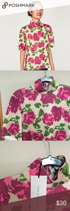 Zara mock neck floral top - new with tags Brand new Zara mock neck top with pink rose floral print Zara Tops