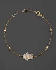 Diamond Hamsa Bracelet in 14K Yellow Gold, .10 ct. t.w.