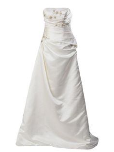 Amazon.com: Artwedding Strapless Ruched Taffeta A Line Bridal Gown with Beading Detail,Ivory: Clothing