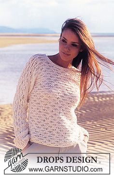 DROPS genser med bølgemønster i Bomull-Lin strikket i ett stykke. ermsømløs. ~ DROPS Design