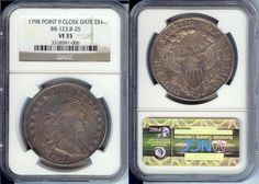 1798 $1 DRAPED BUST COIN Point 9 Close Date NGC VF35 Type 2 Heraldic Eagle