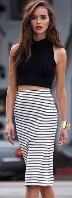 Striped pencil skirt and black crop top