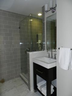 Inspiring Ideas For Really Small Bathroom Ideas Glass Shower Room White And Gray Marble Floor Gray Tile Room White Sink With Drawer Small