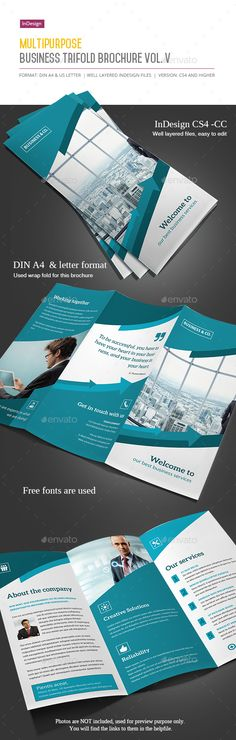 Business Trifold Brochure Vol. V Trifold brochure for any business made in Indesign. The format is A4 (297210 mm) and letter (8.5