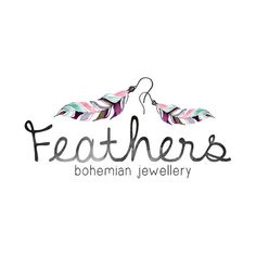 Feather Earrings Logo Design, Feather Logo, Bohemian Logo, Boho Logo, Jewelry Logo, Jewellery Logo, beauty blog, fashion blog