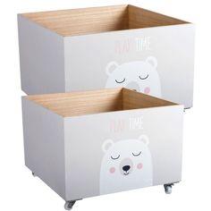 Cajas de madera infantiles para almacenaje. Deco kids.