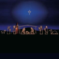 Top quality Estate Collection Nativity Light Display perfect for your home, Church or office. This 11 piece Light sculpture display. Professionally designed and built using only the highest quality materials, including commercial-grade lights. If a bulb burns out others remain lit. Includes a wiring harness which connects to each piece in the scene and reduces the number of extension cords req $1,159.00 http://www.christmasnightinc.com/c101/c104/Nativity-Lights-Small-11-Pc-Nativity-44-p453.h...