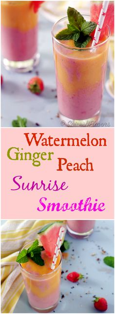 watermelon-peach-ginger-sunrise-smoothie a healthy gluten free and vegan smoothie perfect breakfast for back to schoo