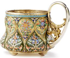 Russian Gilded Silver and Shaded Enamel Tea Glass Holder, Khlebnikov, Moscow, circa 1900.