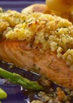 Lombos de salmão com crosta de amêndoa