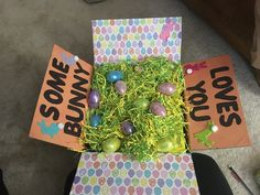 Care package created by Emily Jude using all scrap book paper from Hobby Lobby.
