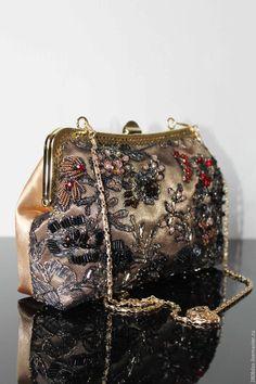 """Купить """"Serie Noire"""" вечерняя сумочка, клатч, сумочка на цепочке, золото - сумочка ручной работы"""