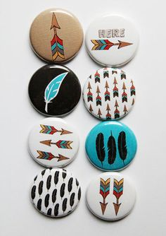 Feathers and Arrows Flair by aflairforbuttons on Etsy, $6.00