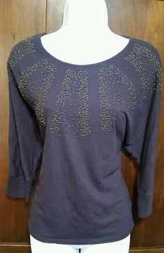 NWOT Coldwater Creek Eggplant Embellished Gold Beaded Dolman 3/4 sleeve Top
