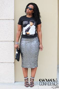 Graphic T-Shirt and Sequin Skirt + (My Social Anxiety) — Curves and Confidence