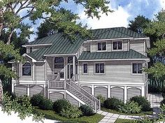 - 9166GU | Low Country, Southern, 1st Floor Master Suite, CAD Available, Drive Under Garage, Elevator, PDF | Architectural Designs