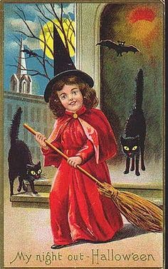 Vintage Halloween postcard - little witch and black cat