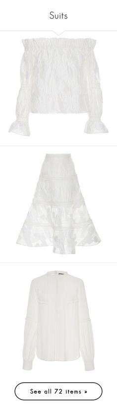 """Suits"" by bliznec ❤ liked on Polyvore featuring tops, blouses, white, white ruffle top, off the shoulder blouse, off shoulder tops, frilly blouse, off shoulder ruffle blouse, skirts and mini skirts"