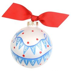 Baby's First Christmas Banner Boy Glass Ornament