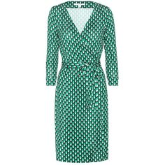 Diane Von Furstenberg New Julian Two Printed Silk Dress ($317) ❤ liked on Polyvore featuring dresses, dot dress, green polka dot dress, silk polka dot dress, green silk dress and diane von furstenberg dress