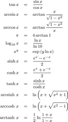 Identities for calculating other transcendental functions