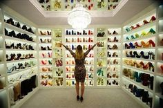 Stilletomeup shoe closet: My dream shoe closet Shoe Room, Shoe Closet, Closet Rooms, Closet Redo, Shoe Palace, Jewelry Drawer, Thing 1, Walk In Wardrobe, Expensive Taste
