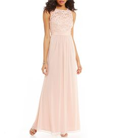 Adrianna Papell Sleeveless Shirred Chiffon Gown Color: Blush ...