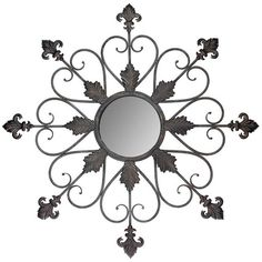 Stonebriar Collection Regency Fleur De Lis Wall Mirror featuring polyvore, home, home decor, mirrors, brown, fleur de lis home decor, fleur de lis mirror and brown mirror