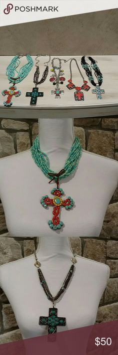Bundle of 5....YES, I said 5 Cross necklaces. If you like crosses, I have got the bundle for you. I pictured all the them together and individual for location reference.  All in excellent condition.  This is a great deal.  I'd love to sell as a bundle but we can always talk.  😊 Boutique Jewelry Necklaces
