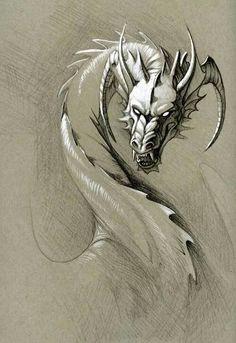 greyscale dragon by hibbary
