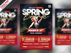 New collection of Free PSD Flyer templates in PSD! There are lots of useful PSD flyers for different goals. Promote your Party , Club , Events , Business Spring Break Party, Free Psd Flyer Templates, Creative Flyers, Easter Party, Party Flyer, New Years Eve Party, Dj Music, Music Promotion, Type