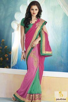 Gorgeous Art Silk Green Pink Color Wedding #Saree @ http://www.pavitraa.in/catalogs/designer-art-silk-sarees-online/?utm_source=pk&utm_medium=pinterestpost&utm_campaign=19March