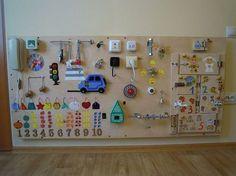 Busy Board, 35 elements, Activity Board, Sensory Board, Montessori educational Toy, Wooden Toy, latch board