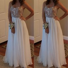 Outlet A-Line Floor Length Chiffon Sleeveless White Beading Long Prom Dresses (Outlet Prom Dress 43327)