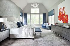 Transitional Master Bedroom with Chandelier, Cathedral ceiling, Carpet