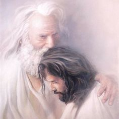 Father & Son - Christian art - No greater love or relationship between a father and son like that of God & Jesus. Jesus Christ Lds, Pictures Of Jesus Christ, Jesus Art, Jesus Is Lord, Savior, Images Of Christ, King Jesus, Jesus Painting, Paintings Of Christ