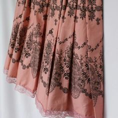 NWOY Pleated pink skirt with lace detail 100% Cotton skirt. Pink with brown print. Hits below knee. Fully lined in 100% cotton Apt. 9 Skirts Midi