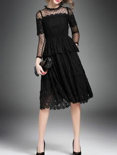 Black Polyester A-line Pierced Long Sleeve Midi Dress Casual Formal Dresses, Elegant Prom Dresses, Unique Dresses, Stylish Dresses, Cheap Dresses, Pretty Dresses, Evening Dresses, Fashion Dresses, Mode Chic