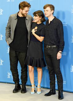 Robert Pattinson had a sweet moment with pretty co-star Alessandra Mastronardi plus Dane DeHaan as the trio hit a photocall for new film Life at the Berlin Film Festival Feb. 9.
