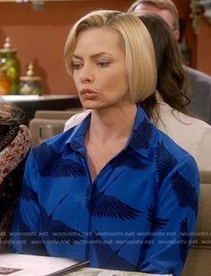 eb281fe523f9 Kate s blue bird print blouse and blue fringed suede jacket on Days of our  Lives