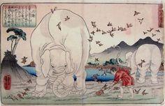 "toshidama:  Utagawa Kuniyoshi, 24 Paragons of Filial Piety: Taishun Tending the Fields Assisted by Elephants  二十四孝童子鑑 大舜 歌川国芳 1840年頃 ""大舜ハ父母弟..."
