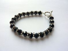 Black crystal and silver bracelet by sueavery on Etsy, £6.00